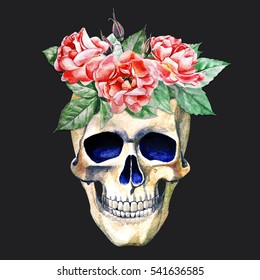 watercolor illustration of a skull with flowers