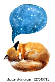 Watercolor illustration of a sleeping fox on the white background.Paint for design and print. Cosmic texture with glowing stars.