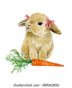 watercolor illustration with small girl rabbit and carrot