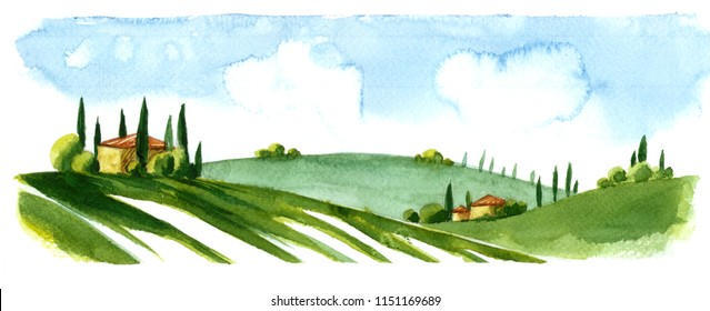 Watercolor illustration of small village in Europe. Alpine landscape