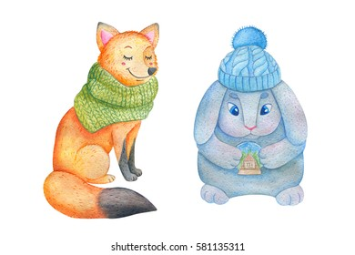 Watercolor illustration of smiling fox in green scarf with bunny in a knitted blue hat with large blue eyes and a pink nose holding a glass ball with snow and the house inside.