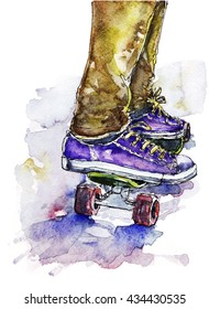 Watercolor illustration of sneakers and board