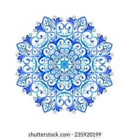 Watercolor illustration of a snowflake. Hand drawn raster artwork.