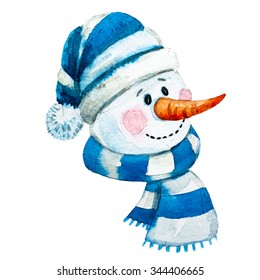 Watercolor illustration of a snowman, a symbol of the new year, winter, children's drawing, face fat funny snowman