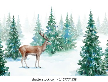 Watercolor illustration with snowy forest and deer