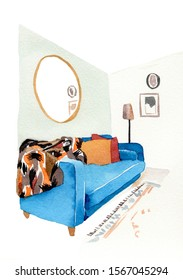 Watercolor illustration with sofa. Inferior design. Scandinavian style. Cozy room illustration with blue couch. Hygge