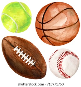 Watercolor illustration of sport balls set like baseball, rugby or american football, basketball and tennis isolated on white background