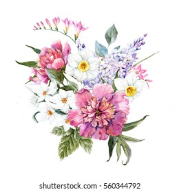 watercolor illustration spring  floral bouquet, white daffodils. Sereni. pink peony. postcard template