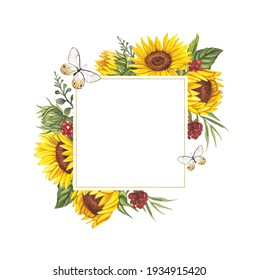 Watercolor illustration of a square frame with sunflowers and butterflies. Perfect for a wedding invitation.