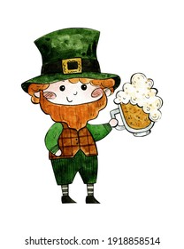 watercolor illustration for st patrick's day. cute character in green hat with beer mug in hand
