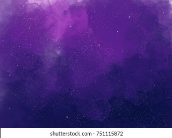 Watercolor illustration of Starry sky. Digital drawing.