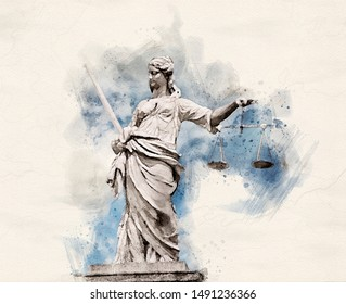 Watercolor illustration of a Statue of Lady Justice holding scales and sword