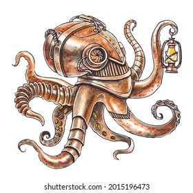 Watercolor illustration of a steampunk octopus. Bronze robot octopus with a kerasin lamp. Steampunk drawing