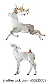 Watercolor illustration of a stylized leaping deer with horns and a garland. Young fawn. Isolated object on white background