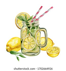 Watercolor illustration of summer cocktails lemonade. Ice tea cocktail with lemons
