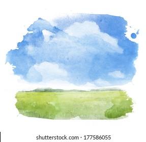 Watercolor illustration of a summer landscape