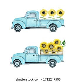 Watercolor illustration of a summer light blue farm pickup truck with sunflowers on a white background