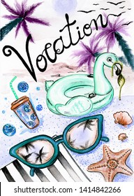 Watercolor illustration of the summer set. Sunglases, seastar, lemonade and floaty Flamingo laying on the beach