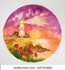 Lighthouse Painting Sunrise Images, Stock Photos & Vectors