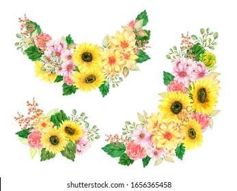 Watercolor illustration sunflower rose wildflower blossom Botanical leaves collection Set of wild and garden wreath bouquet arrangements hand painted on white backdround