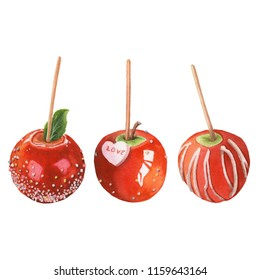 Watercolor illustration of sweet candy apples. Caramel apples.