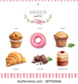 Watercolor illustration of sweets (donuts, cakes, muffins, croissant, chocolate)