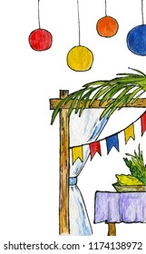 Watercolor illustration. Symbols of Sukkot (a Jewish holiday), Feast of Tabernacles or Feast of the Ingathering. Sukkah (booth or tabernacle), willow branches, etrog, myrtle