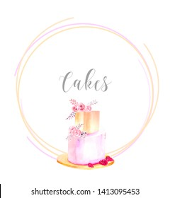 Watercolor illustration. Template in a round frame with a two-tiered cake. Picture for logo, sticker, invitation, etc.