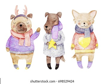 Watercolor illustration with three dogs in christmas clothes. 2018 chinese new year symbol