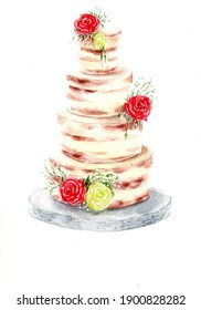 Watercolor illustration of three layer cake with roses
