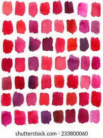 Watercolor illustration. Tints of red color.