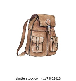 Watercolor illustration of a tourist backpack. Camping, hiking, camping.