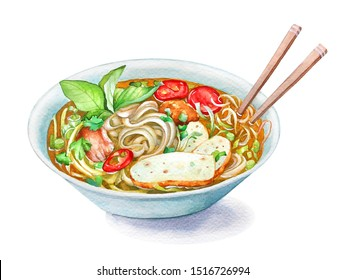 Watercolor illustration of traditional Vietnamese fish cake noodle soup Bun Cha Ca in the bowl.