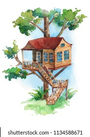 Watercolor illustration of treehouse with stair isolated on white background.