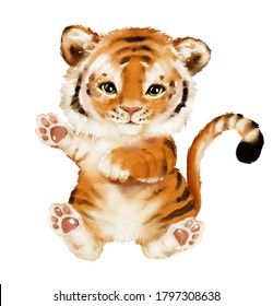 Watercolor illustration tropical animal portrait. Exotic kids summer print for party. Cute poster with baby tiger