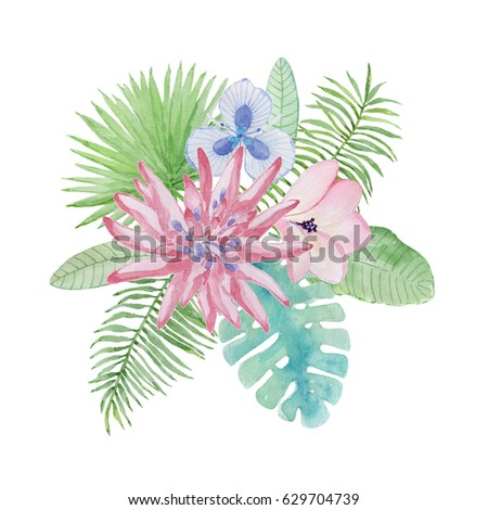 watercolor illustration tropical flowers leaves template stock