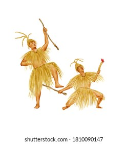 Watercolor Illustration of two men dancing the Maogusi dance of the Tujia people in western Hunan, China, which is an ancient dance. Isolated on white background. | 土家毛古斯舞