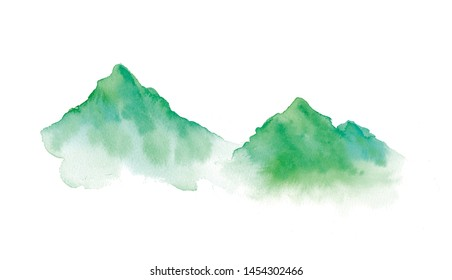Watercolor illustration of two mountains