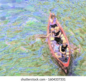watercolor illustration: Two pretty young girls and an older woman paddling in a red canoe on the Ihme, view from above, sport