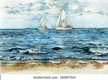 Watercolor illustration of two sailing yachts drifting in the quiet blue sea