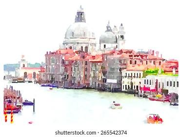 watercolor illustration venice italy