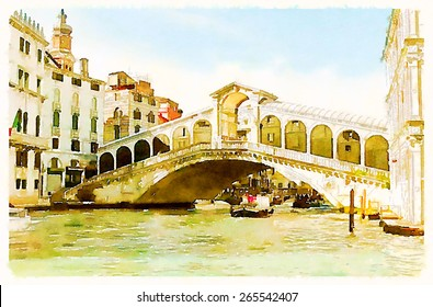 watercolor illustration venice italy