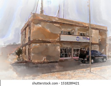 watercolor illustration: The Wadi Rum railway station in the desert, stopping point for the famous desert train of Lawrence of Arabia, middle east