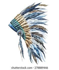 watercolor illustration  war bonnet