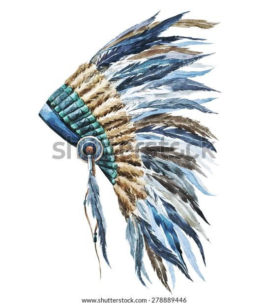 b25127fc3 Watercolor Illustration War Bonnet Stock Illustration 278889446