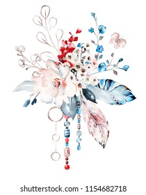 watercolor illustration with white, blue snd red flowers, feathers, jewerly. composition with flowers, butterfly. Cool print on T-shirt.