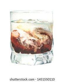 Watercolor illustration of white Russian cocktail