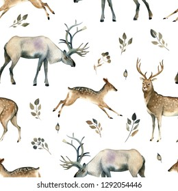 Watercolor illustration of wild deer, stag, moose and leaves on white background. Realistic forest animal sketch. Seamles pattern about many of forest animals