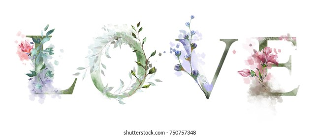 watercolor illustration with wild flowers, herbs - love. Cool print on T-shirt. Vintage. Lettering