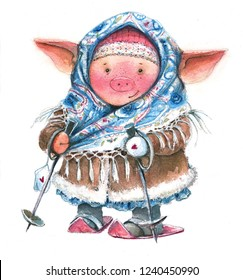 Watercolor illustration of a winter Christmas pig in a shawl and fur coat skiing on a white background